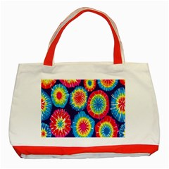 Tie Dye Circle Round Color Rainbow Red Purple Yellow Blue Pink Orange Classic Tote Bag (red)