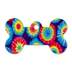 Tie Dye Circle Round Color Rainbow Red Purple Yellow Blue Pink Orange Dog Tag Bone (one Side)