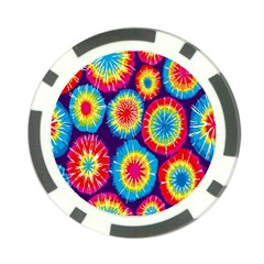 Tie Dye Circle Round Color Rainbow Red Purple Yellow Blue Pink Orange Poker Chip Card Guard