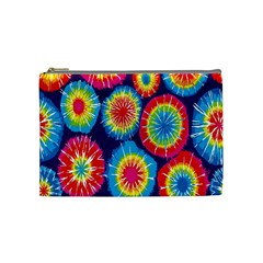 Tie Dye Circle Round Color Rainbow Red Purple Yellow Blue Pink Orange Cosmetic Bag (medium)