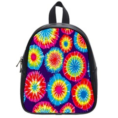 Tie Dye Circle Round Color Rainbow Red Purple Yellow Blue Pink Orange School Bags (small)