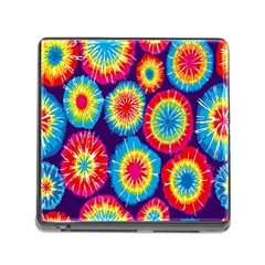 Tie Dye Circle Round Color Rainbow Red Purple Yellow Blue Pink Orange Memory Card Reader (square)
