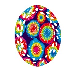 Tie Dye Circle Round Color Rainbow Red Purple Yellow Blue Pink Orange Oval Filigree Ornament (two Sides)