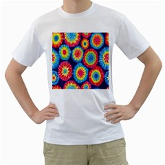 Tie Dye Circle Round Color Rainbow Red Purple Yellow Blue Pink Orange Men s T Shirt (white)