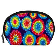 Tie Dye Circle Round Color Rainbow Red Purple Yellow Blue Pink Orange Accessory Pouches (large)
