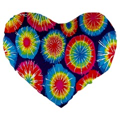 Tie Dye Circle Round Color Rainbow Red Purple Yellow Blue Pink Orange Large 19  Premium Flano Heart Shape Cushions