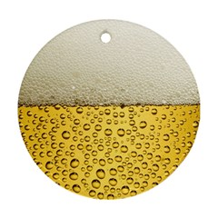 Water Bubbel Foam Yellow White Drink Ornament (round)