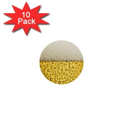 Water Bubbel Foam Yellow White Drink 1  Mini Buttons (10 Pack)