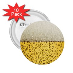 Water Bubbel Foam Yellow White Drink 2 25  Buttons (10 Pack)