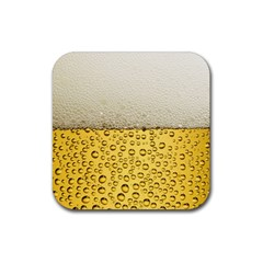 Water Bubbel Foam Yellow White Drink Rubber Square Coaster (4 Pack)