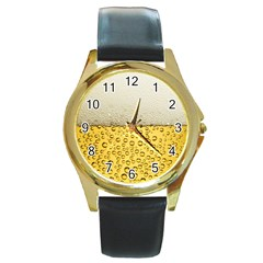 Water Bubbel Foam Yellow White Drink Round Gold Metal Watch