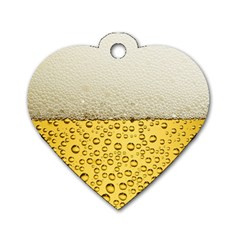 Water Bubbel Foam Yellow White Drink Dog Tag Heart (two Sides)