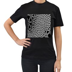 X Ray Rendering Hinges Structure Kinematics Circle Star Black Grey Women s T Shirt (black)