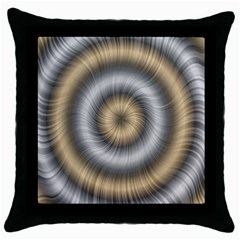 Prismatic Waves Gold Silver Throw Pillow Case (black)