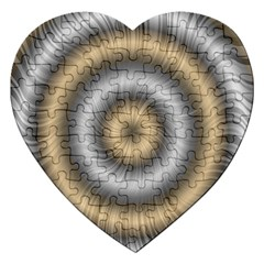 Prismatic Waves Gold Silver Jigsaw Puzzle (heart)
