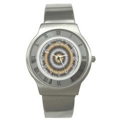 Prismatic Waves Gold Silver Stainless Steel Watch