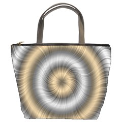 Prismatic Waves Gold Silver Bucket Bags