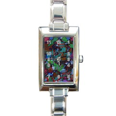 Dark Watercolor On Partial Image Of San Francisco City Mural Usa Rectangle Italian Charm Watch