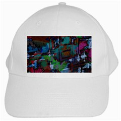 Dark Watercolor On Partial Image Of San Francisco City Mural Usa White Cap