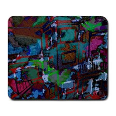 Dark Watercolor On Partial Image Of San Francisco City Mural Usa Large Mousepads