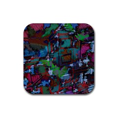 Dark Watercolor On Partial Image Of San Francisco City Mural Usa Rubber Square Coaster (4 Pack)