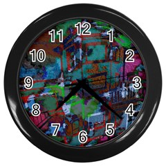 Dark Watercolor On Partial Image Of San Francisco City Mural Usa Wall Clocks (Black)