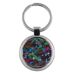 Dark Watercolor On Partial Image Of San Francisco City Mural Usa Key Chains (round)