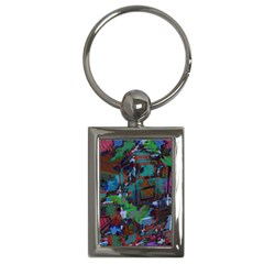 Dark Watercolor On Partial Image Of San Francisco City Mural Usa Key Chains (rectangle)