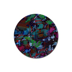 Dark Watercolor On Partial Image Of San Francisco City Mural Usa Rubber Round Coaster (4 Pack)
