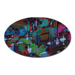 Dark Watercolor On Partial Image Of San Francisco City Mural Usa Oval Magnet