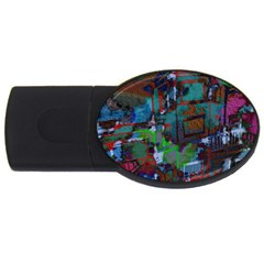 Dark Watercolor On Partial Image Of San Francisco City Mural Usa USB Flash Drive Oval (2 GB)