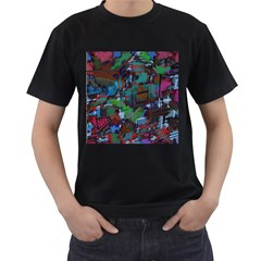 Dark Watercolor On Partial Image Of San Francisco City Mural Usa Men s T Shirt (black) (two Sided)