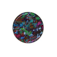 Dark Watercolor On Partial Image Of San Francisco City Mural Usa Hat Clip Ball Marker (4 pack)