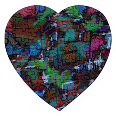 Dark Watercolor On Partial Image Of San Francisco City Mural Usa Jigsaw Puzzle (Heart)
