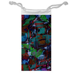Dark Watercolor On Partial Image Of San Francisco City Mural Usa Jewelry Bag