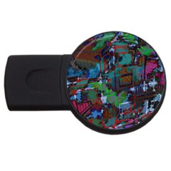 Dark Watercolor On Partial Image Of San Francisco City Mural Usa USB Flash Drive Round (4 GB)