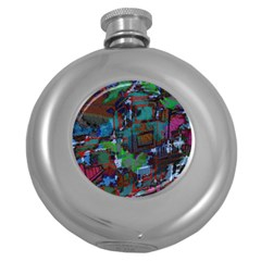 Dark Watercolor On Partial Image Of San Francisco City Mural Usa Round Hip Flask (5 oz)
