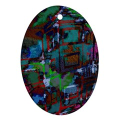 Dark Watercolor On Partial Image Of San Francisco City Mural Usa Oval Ornament (Two Sides)