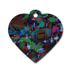 Dark Watercolor On Partial Image Of San Francisco City Mural Usa Dog Tag Heart (two Sides)