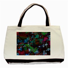 Dark Watercolor On Partial Image Of San Francisco City Mural Usa Basic Tote Bag (two Sides)
