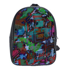 Dark Watercolor On Partial Image Of San Francisco City Mural Usa School Bags(large)