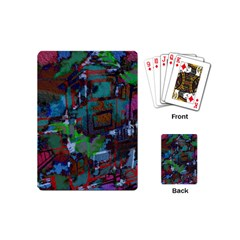 Dark Watercolor On Partial Image Of San Francisco City Mural Usa Playing Cards (mini)