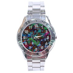 Dark Watercolor On Partial Image Of San Francisco City Mural Usa Stainless Steel Analogue Watch