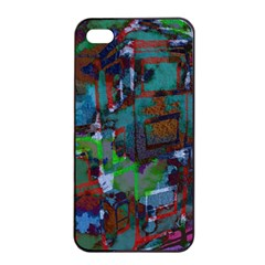 Dark Watercolor On Partial Image Of San Francisco City Mural Usa Apple Iphone 4/4s Seamless Case (black)