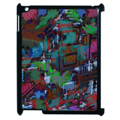 Dark Watercolor On Partial Image Of San Francisco City Mural Usa Apple iPad 2 Case (Black)