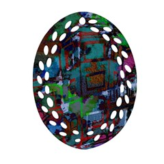 Dark Watercolor On Partial Image Of San Francisco City Mural Usa Oval Filigree Ornament (Two Sides)