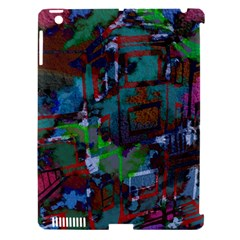 Dark Watercolor On Partial Image Of San Francisco City Mural Usa Apple iPad 3/4 Hardshell Case (Compatible with Smart Cover)