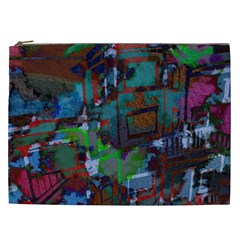 Dark Watercolor On Partial Image Of San Francisco City Mural Usa Cosmetic Bag (XXL)