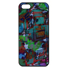 Dark Watercolor On Partial Image Of San Francisco City Mural Usa Apple iPhone 5 Seamless Case (Black)