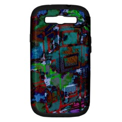 Dark Watercolor On Partial Image Of San Francisco City Mural Usa Samsung Galaxy S III Hardshell Case (PC+Silicone)